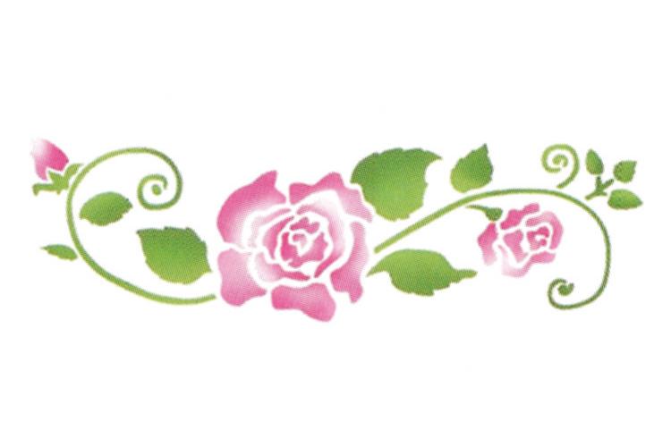 Pochoir frise roses pochoir frise 10 doigts - Coloriage frise fleurs ...