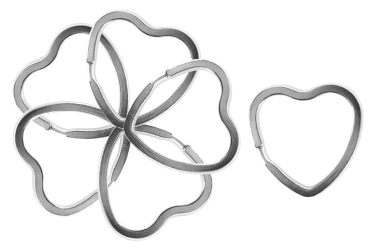 Anneaux métalliques brisés en forme de coeur - 6 pièces - Porte-clés et  mousquetons f8ec48a98e2