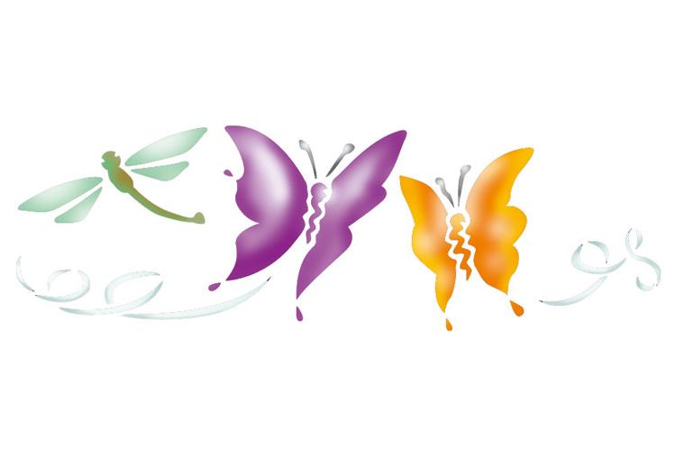 Pochoir frise papillons pochoir frise 10 doigts - Coloriage frise fleurs ...