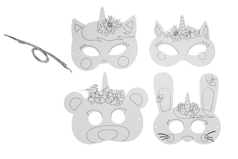 Masques Licorne à Colorier Set De 4 Mardi Gras Carnaval 10 Doigts