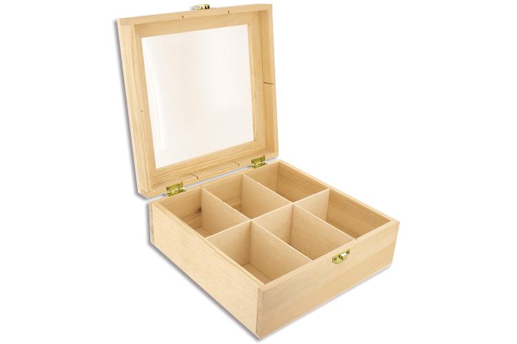 bo te en bois 6 cases avec couvercle en plexi bo tes et coffrets 10 doigts. Black Bedroom Furniture Sets. Home Design Ideas