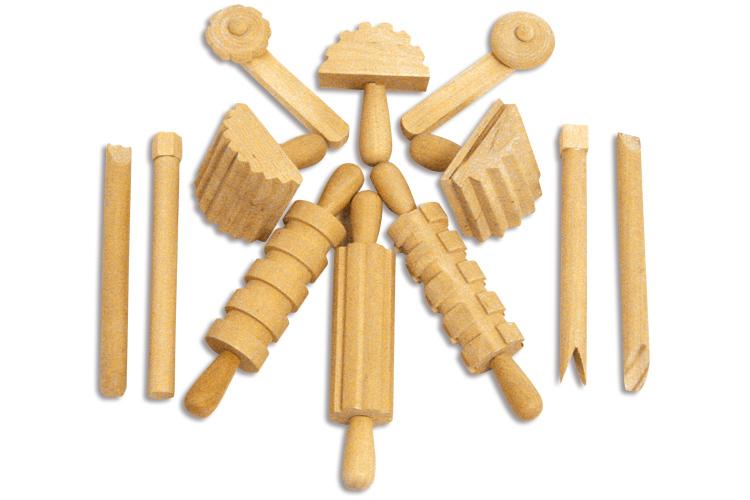set de 12 outils en bois pour le modelage outils de modelage 10 doigts. Black Bedroom Furniture Sets. Home Design Ideas