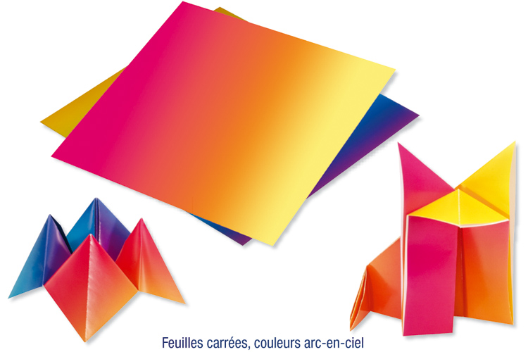 Feuilles De Papiers Carré Arc En Ciel Assorties Origami 10 Doigts