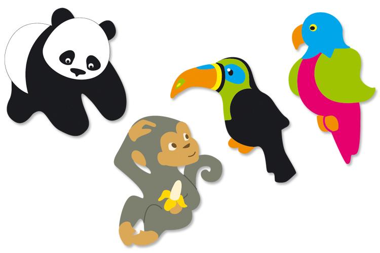 Animaux de la jungle en bois d cor motifs peint 10 doigts - Decoration animaux de la jungle ...