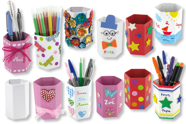Pots crayons h xagonaux en carton fort blanc pots for Customiser des boites de conserves