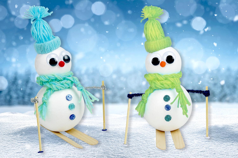 Comment Faire Des Boule A Neige bonhomme de neige skieur - noël - 10 doigts