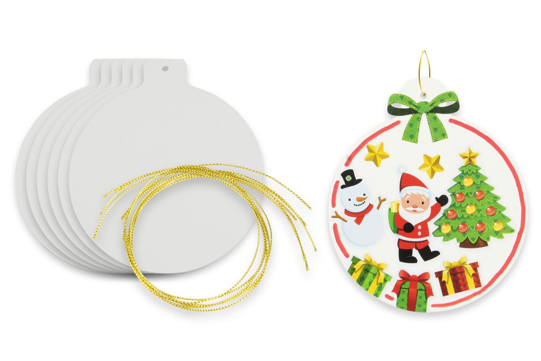 Boule Plastique A Decorer boule de noël en carton blanc - décoration du sapin - 10 doigts