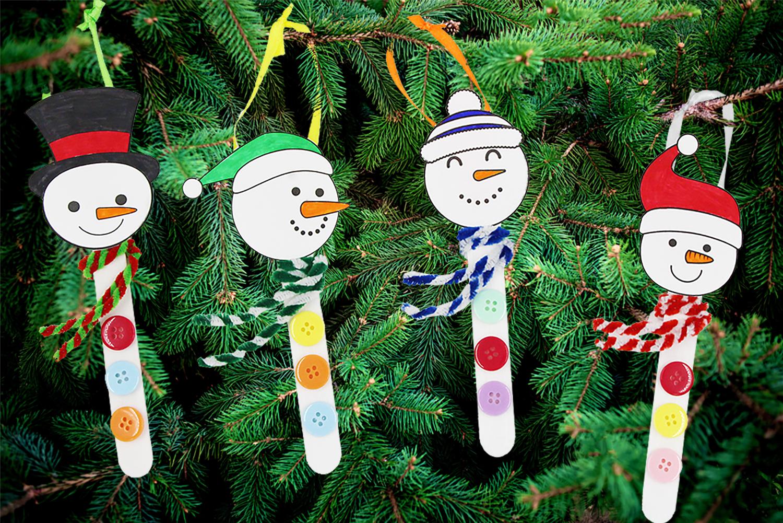 Bonhomme De Neige Avec Des Batons De Glace Noel 10 Doigts