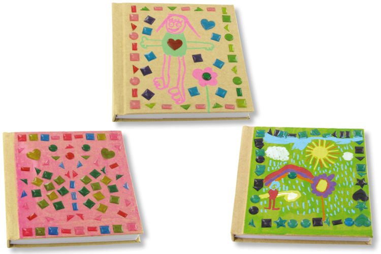 Carnets kraft déco stickers mosaïques