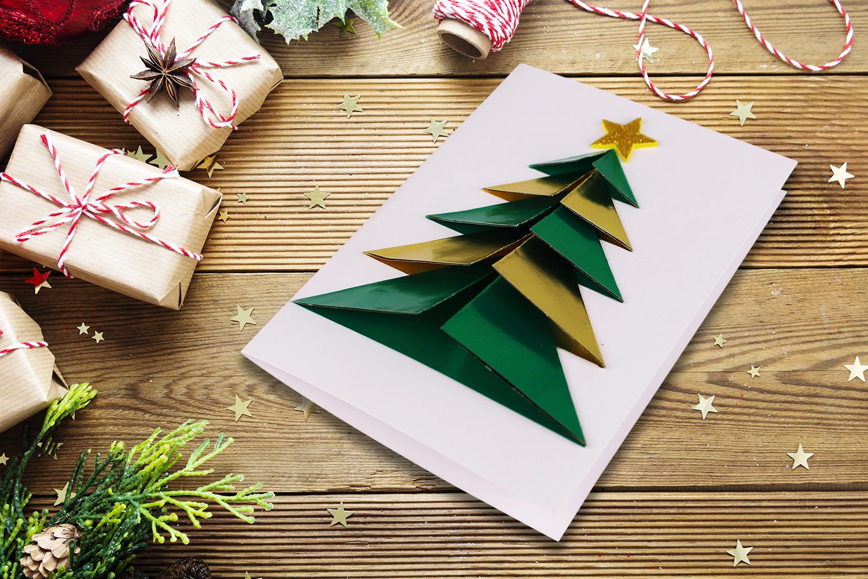 Carte sapin origami 3D   Noël   10 Doigts