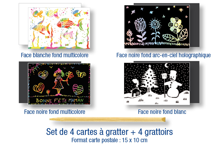 Set de 4 cartes à gratter assorties + 4 grattoirs