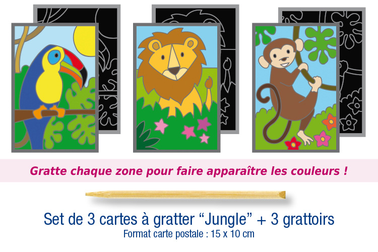 "Set de 3 cartes à gratter ""Jungle"" + 3 grattoirs"