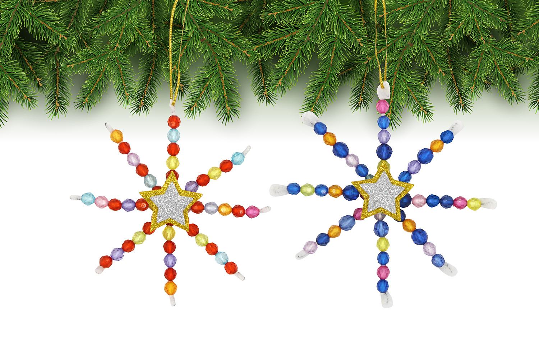 Fabriquer Deco Noel En Feutrine kit fabrication suspensions noël en perles - 12 flocons