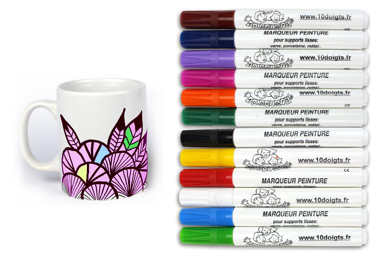 Peinture Pour Lave Vaisselle marqueurs peinture pour verre, porcelaine, métal - feutres