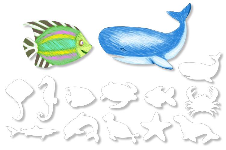 Coloriage Animaux Mer.Grandes Formes D Animaux De La Mer A Colorier