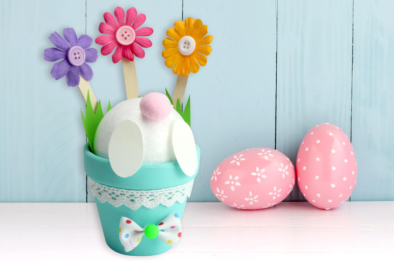 Decoration Petit Pot De Fleur popotin de lapin dans un pot de fleurs - pâques - 10 doigts
