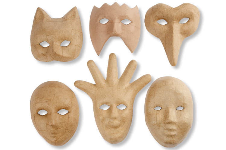 moins cher vente chaude rechercher l'original Masques en papier mâché décorés avec de la pâte à modeler ...