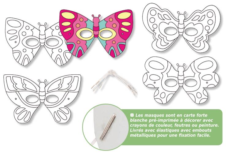 Masques à Colorier Papillons Set De 4 Mardi Gras Carnaval 10