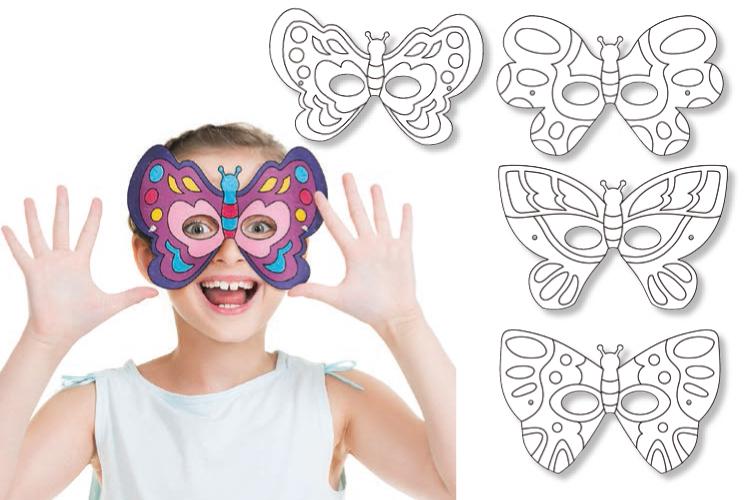 Coloriage Famille Papillon.Masques A Colorier Papillons Set De 4 Mardi Gras Carnaval 10