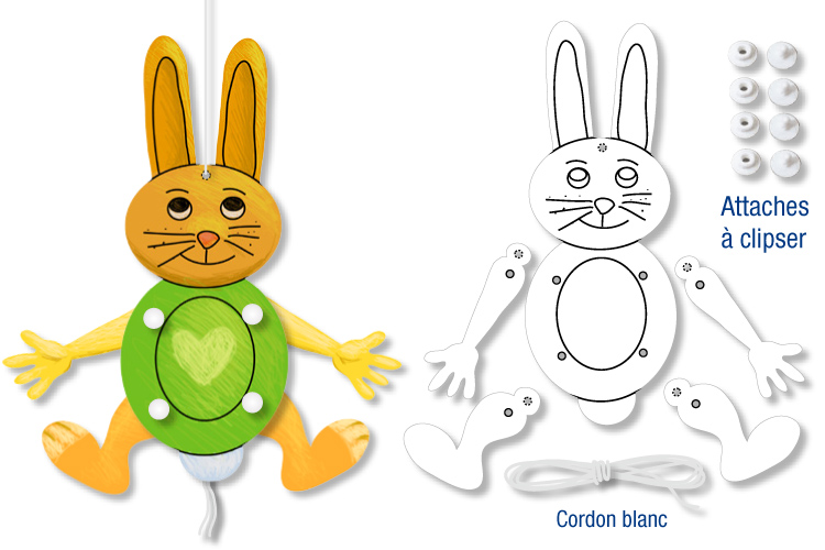 Mobile Lapin Articule Kits Activites Paques 10 Doigts