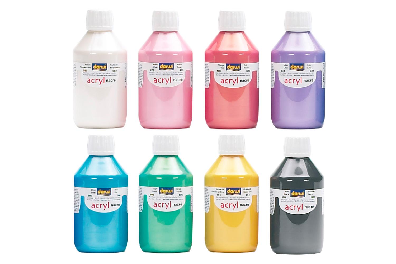peinture acrylique nacrée 80 ou 250 ml - acrylique nacrée - 10 doigts