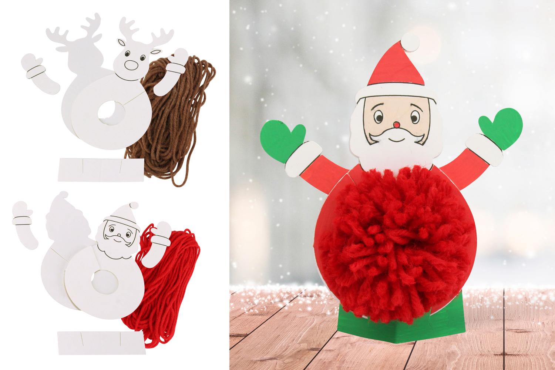 Deco Pompons En Laine kit personnages de noël pompon - set de 2 - décoration de