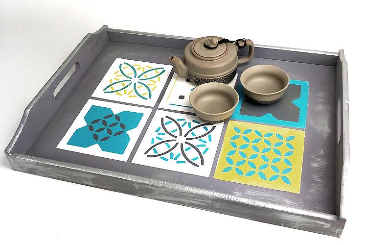 pochoir carreaux de ciment set de 4 motifs pochoir. Black Bedroom Furniture Sets. Home Design Ideas