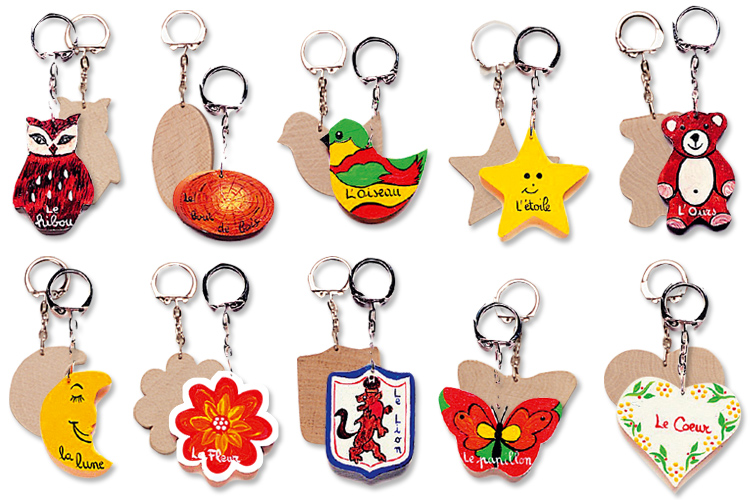 Porte clefs en bois d corer f te des m res 10 doigts - Fabriquer un porte clef ...