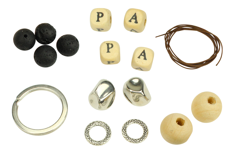 porte cl s papa en perles de lave kit pour 1 porte cl s. Black Bedroom Furniture Sets. Home Design Ideas