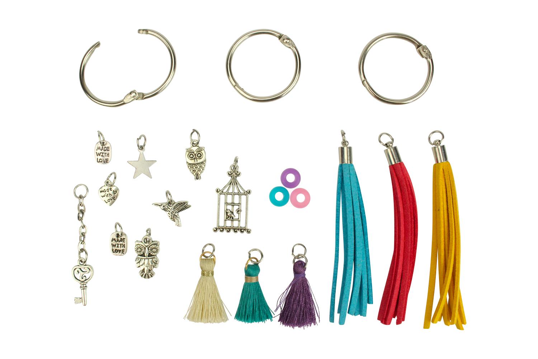 Fabriquer Porte Clé Facile porte-clés pompons colorés - kit 3 couleurs - kits bijoux