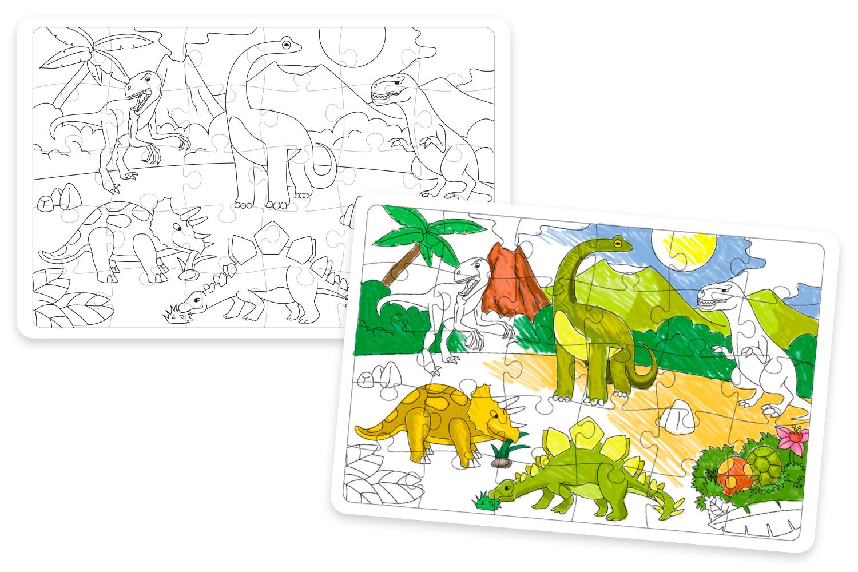 Grand Puzzle Dinosaures A Colorier Puzzle A Colorier Dessiner Ou Peindre 10 Doigts