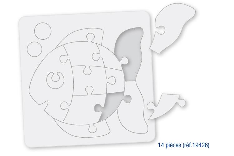 Coloriage Coeur Poisson.Puzzle En Carton Blanc A Colorier Avec Fond Poisson Puzzles A