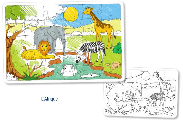 Puzzles en carton blanc colorier lot de 3 puzzles colorier dessiner ou peindre 10 doigts - Puzzle dessin ...
