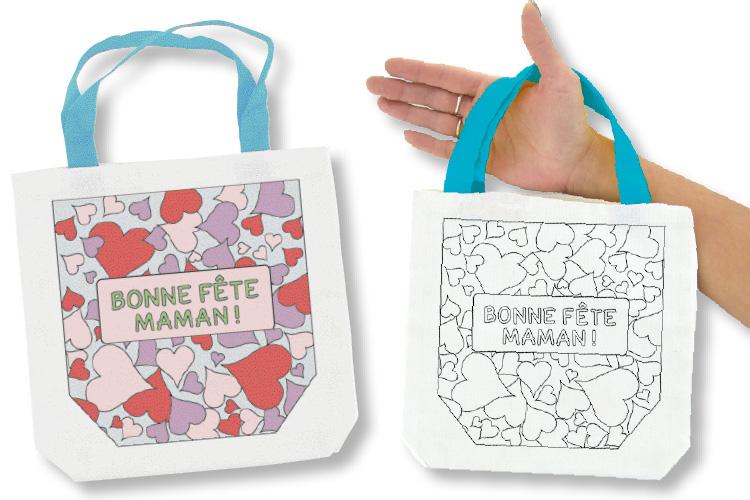 Sac à Colorier Bonne Fête Maman Supports Textile 10 Doigts