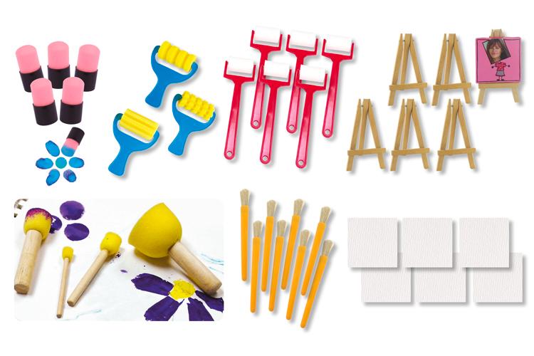 outils de peinture maxi set 34 outils cadeaux eponges 10 doigts. Black Bedroom Furniture Sets. Home Design Ideas