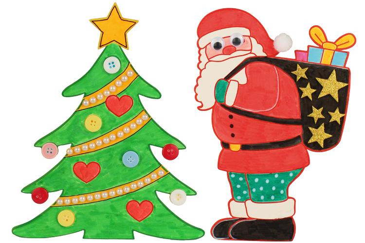 Set De 2 Coloriages De Noël Sapin Et Père Noël à Poser Support
