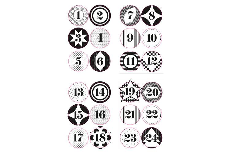 Chiffres Pour Calendrier De Lavent.Stickers Pour Calendrier De L Avent Set De 3 Planches