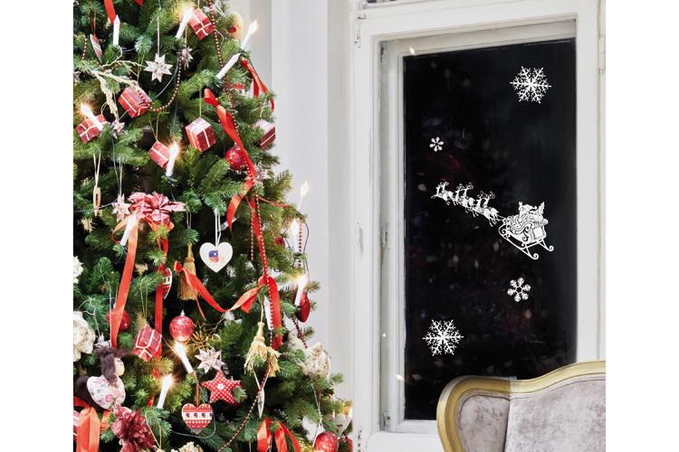 Stickers Repositionnables Pailletés De Noël Pour Fenêtres