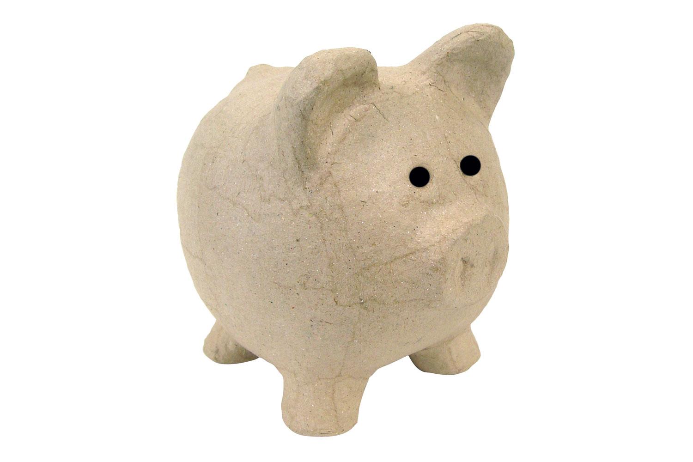 Tirelire Cochon En Papier Mache 12 Cm