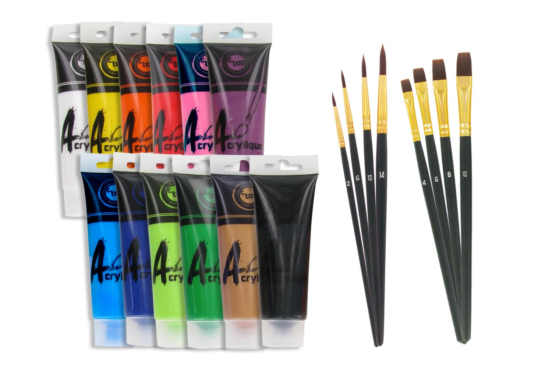 Peinture Acrylique   Set De 12 Tubes 75 Ml (Toutes Les Couleurs Sauf Or Et