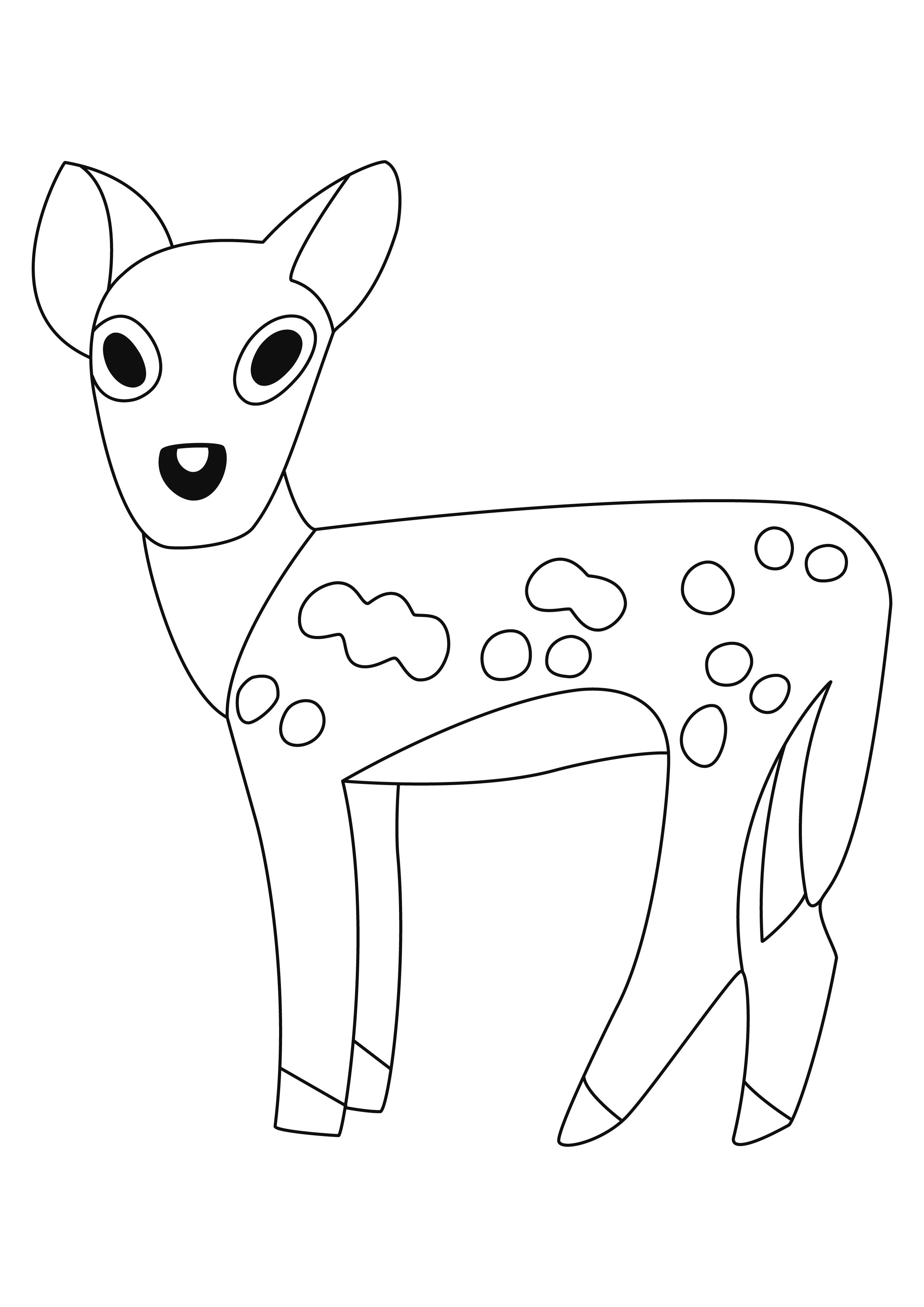 Coloriage - Animaux : Biche 03 - 10 Doigts