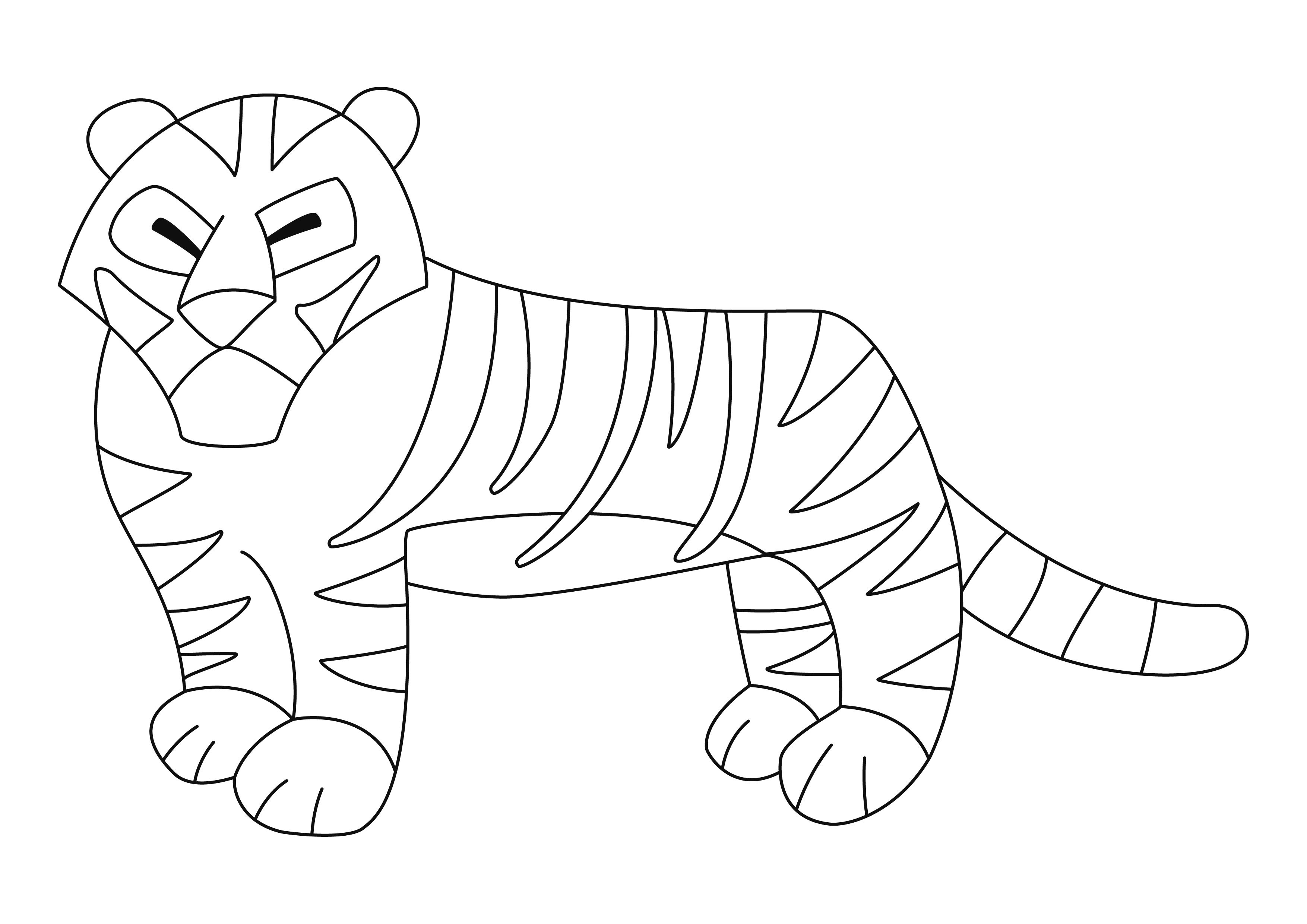 Coloriage - Animaux : Tigre 01 - 10 Doigts