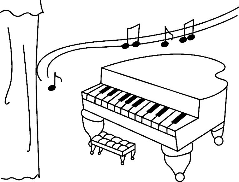 Coloriage divers piano 01 10 doigts - Coloriage piano ...