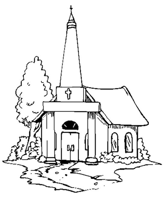 Coloriage monuments eglise 10 doigts - Coloriage eglise ...