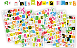Alphabets, Lettres, Chiffres - Gommettes, stickers - 10doigts.fr