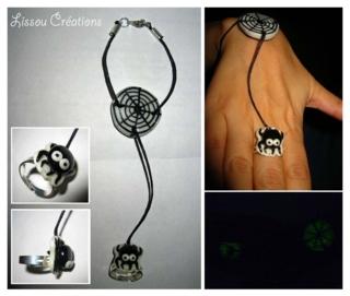 Bracelet-bague araignée phosphorescente et sa toile - Fimo, Cernit - 10doigts.fr