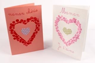 Carte coeur avec empreintes de doigts - Fête des Mères - 10doigts.fr