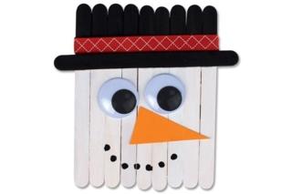 Bonhomme de neige en bâtonnets - Noël - 10doigts.fr