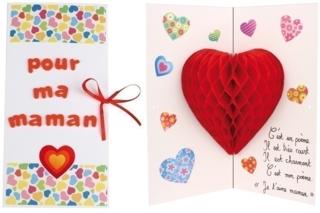 Carte Pop Up Coeur 3D - Fête des Mères - 10doigts.fr