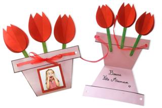 Carte pot de fleurs pour la fête des mères - Fête des Mères - 10doigts.fr